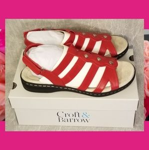 Croft Barrow Depot Strappy Sandals Red 10